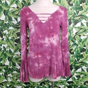 AEO Soft and Sexy Tie Dye Bell Sleeve Top